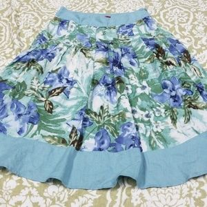 Anthropologie Tapemeasure Skirt Sz 4 Teal Floral
